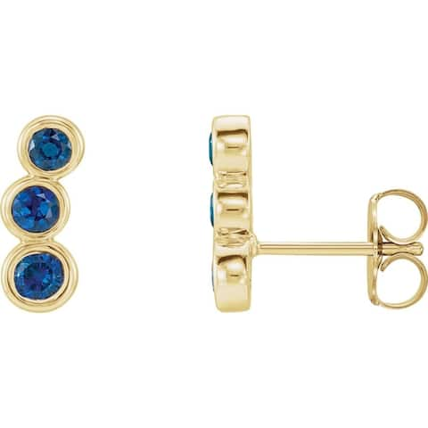 Curata 14k Yellow Gold Blue Sapphire Polished Blue Sapphire Earrings Climbers