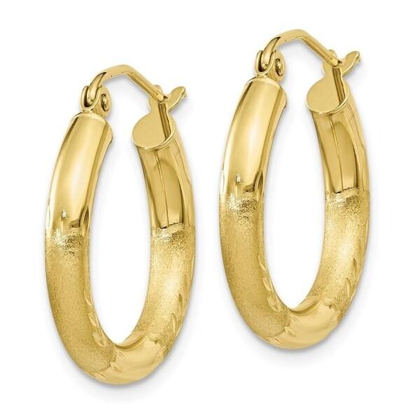 10k Yellow Gold Diamond-cut 3mm Polished Round Hoop Earrings