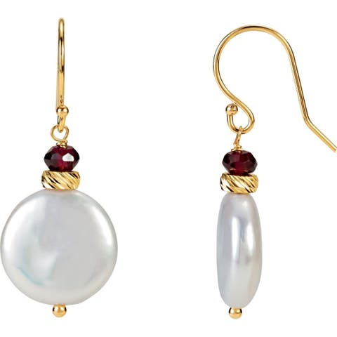 Curata 14k Yellow Gold Garnet 33x13mm Polished Freshwater Cultured Pearl Coin Earrings