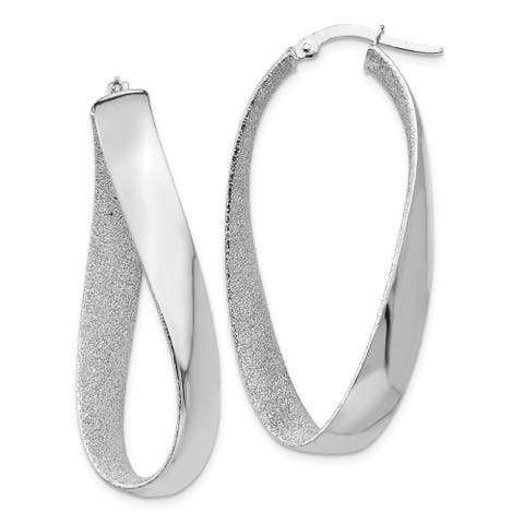 Curata 14k Hollow Hinged Laser-cut Gold White Rhodium Satin and Polished Twisted Hoop Earrings