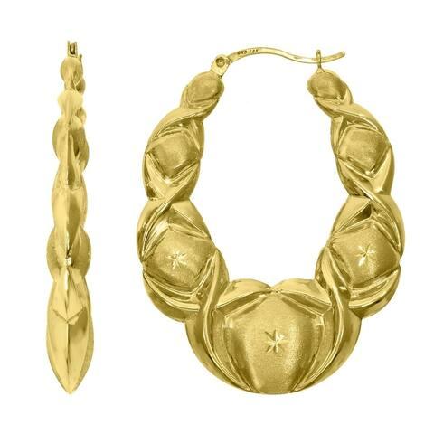 Curata 10k Gold Dc Brushed Womens Xo Hugs & Kisses 43mm Hinged Hoops Hugs Earlobe Earrings