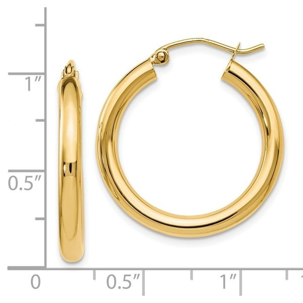 14K Gold Polished Hinged Post Earrings