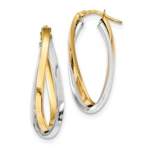Curata 15.51mm 14k Two Tone Polished Oval Double Hoop Earringss