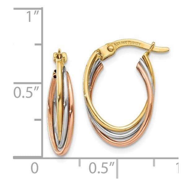 14K Tri-color Polished Post Earring