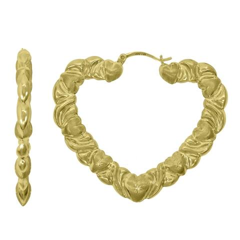Curata 10k Gold Dc Brushed Womens Heart Xo Hugs & Kisses 57.7mm Hinged Hoops Hugs Earlobe Earrings