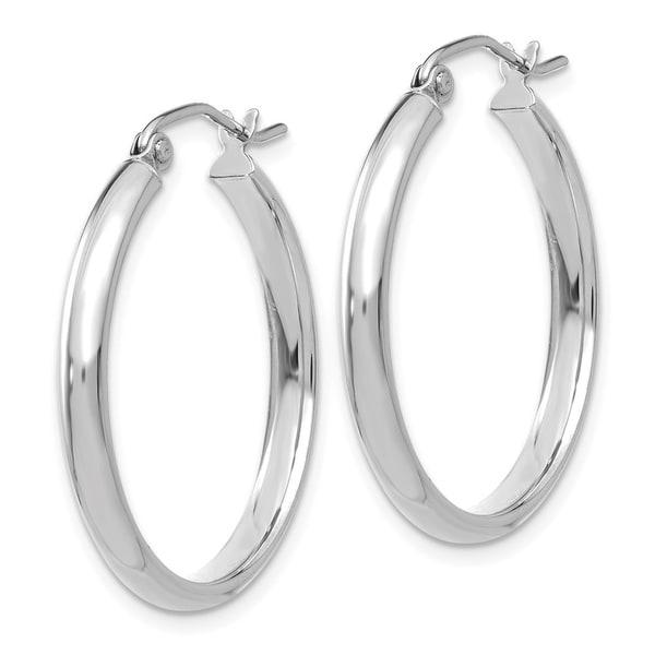 14k White Gold Polished Post Hoop Earring