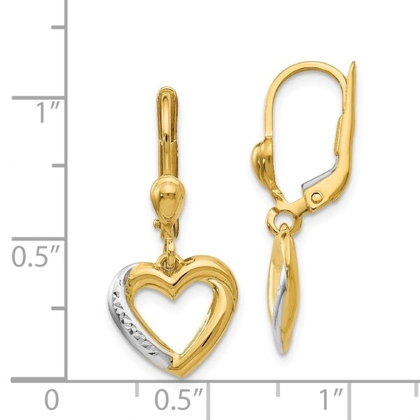 Real 14kt Yellow Gold Gold Textured and Polished Dangle Leverback Earrings