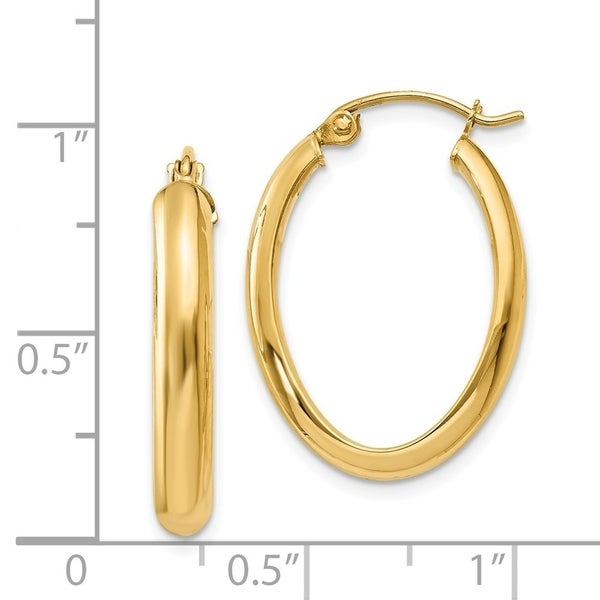 14kt Yellow Gold Polished Oval Hoop Earrings