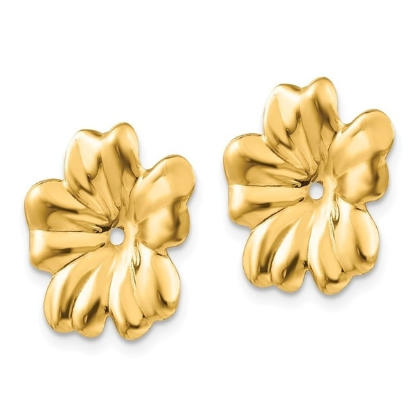 14kt Yellow Gold Polished Floral Earring Jackets