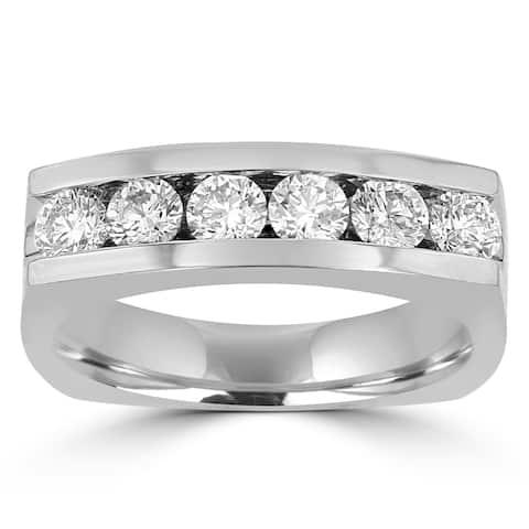 1.5ct TDW 14 Karat White Gold Men's Moissanite Ring