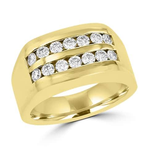 1.0ct TDW 14 Karat Yellow Gold Men's Moissanite Ring