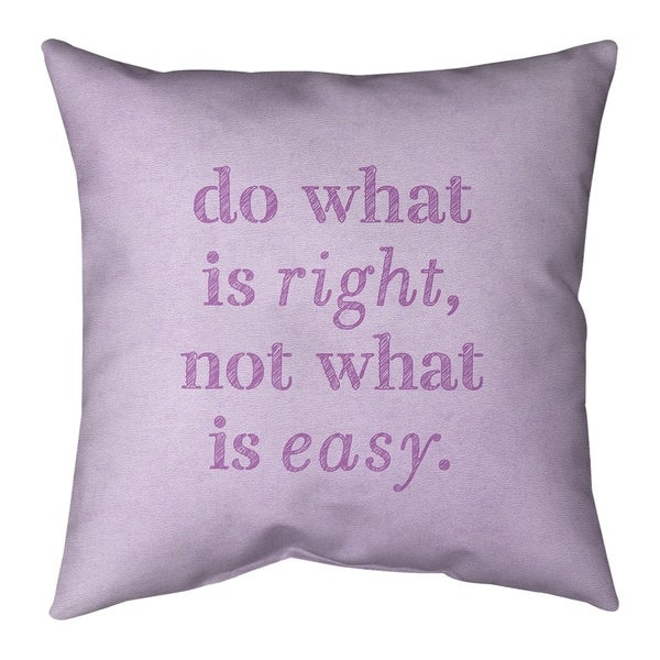 Quotes Handwritten Do What is Right Quote Pillow-Faux Suede
