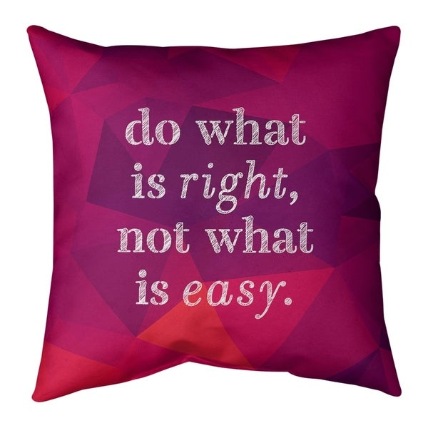 Quotes Faux Gemstone Do What is Right Quote Pillow-Faux Linen