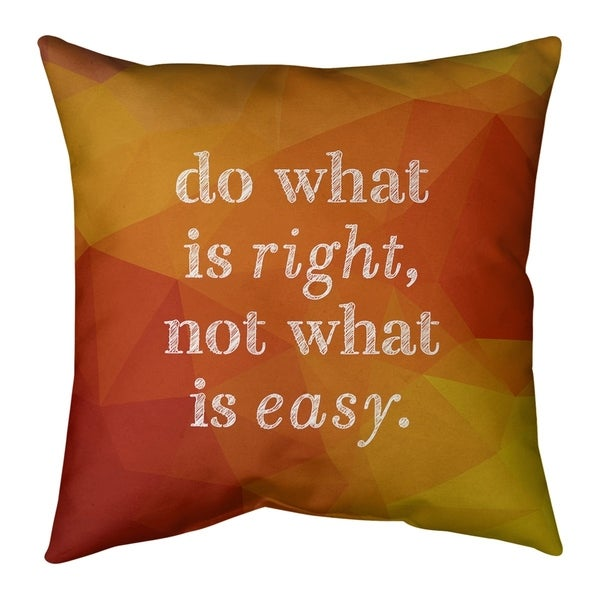 Quotes Faux Gemstone Do What is Right Quote Pillow-Cotton Twill