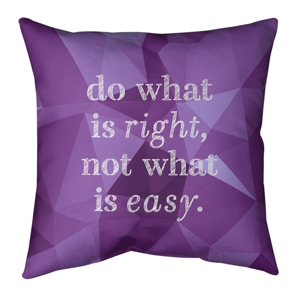 Quotes Faux Gemstone Do What is Right Quote Pillow-Spun Polyester