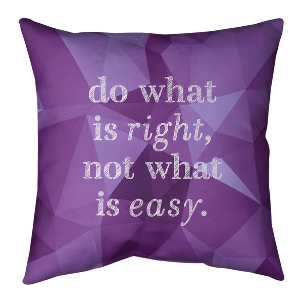 Quotes Faux Gemstone Do What is Right Quote Pillow-Faux Suede