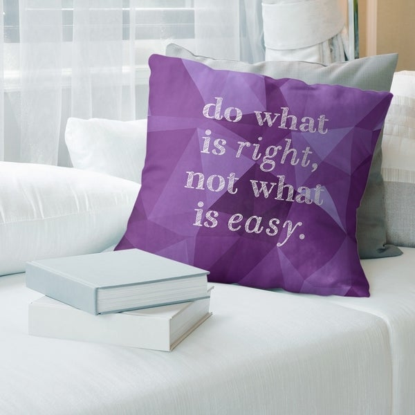 Quotes Faux Gemstone Do What is Right Quote Pillow (w/Rmv Insert)-Spun Poly