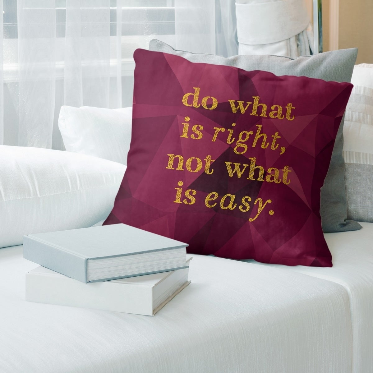 Quotes Faux Gemstone Do What Is Right Quote Pillow Faux Linen Overstock 30306151