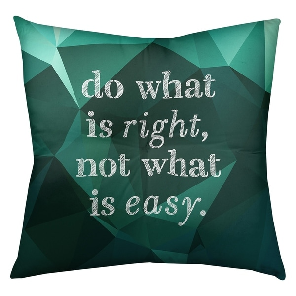 Quotes Faux Gemstone Do What is Right Quote Floor Pillow - Square Tufted