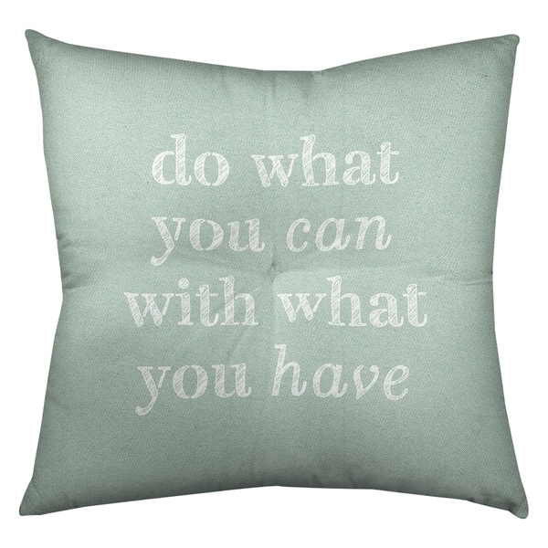 Quotes Handwritten Do What You Can Quote Floor Pillow - Square Tufted