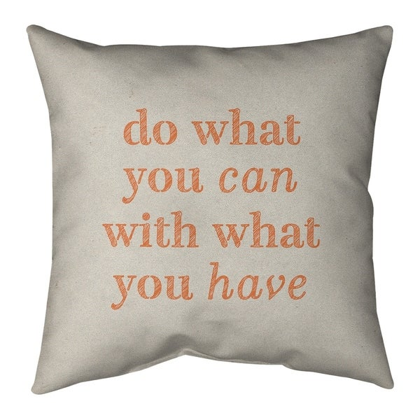 Quotes Handwritten Do What You Can Quote Pillow-Faux Suede