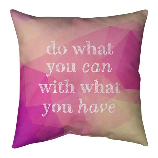 Quotes Faux Gemstone Do What You Can Quote Pillow-Faux Suede