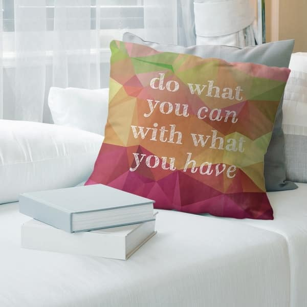 Quotes Faux Gemstone Do What You Can Quote Pillow Indoor Outdoor Overstock 30306489