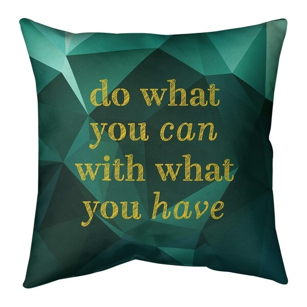 Quotes Faux Gemstone Do What You Can Quote Pillow-Cotton Twill