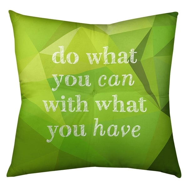 Quotes Faux Gemstone Do What You Can Quote Floor Pillow - Square Tufted