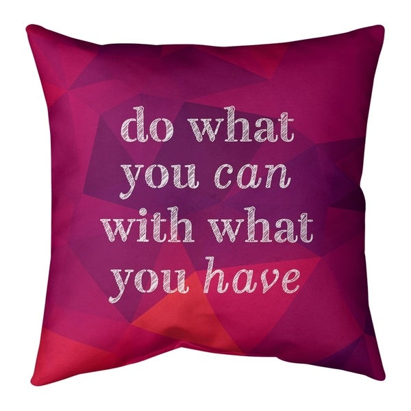 Quotes Faux Gemstone Do What You Can Quote Pillow-Faux Linen