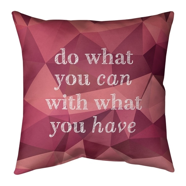 Quotes Faux Gemstone Do What You Can Quote Pillow-Spun Polyester