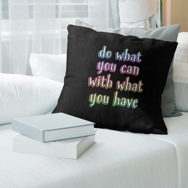 Quotes Do What You Can Quote Chalkboard Style Pillow-Faux Suede