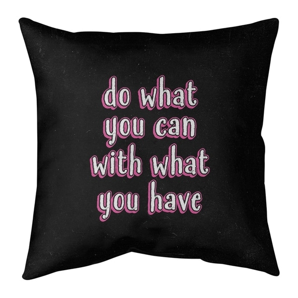 Quotes Do What You Can Quote Chalkboard Style Pillow (w/Rmv Insert)-Spun Poly