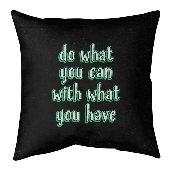 Quotes Do What You Can Quote Chalkboard Style Pillow-Faux Linen