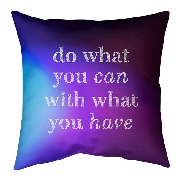 Quotes Multicolor Background Do What You Can Quote Pillow (w/Rmv Insert)-Spun Poly