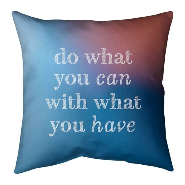 Quotes Multicolor Background Do What You Can Quote Pillow-Faux Suede