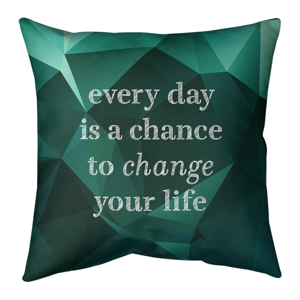 Quotes Faux Gemstone Change Your Life Quote Pillow-Faux Suede