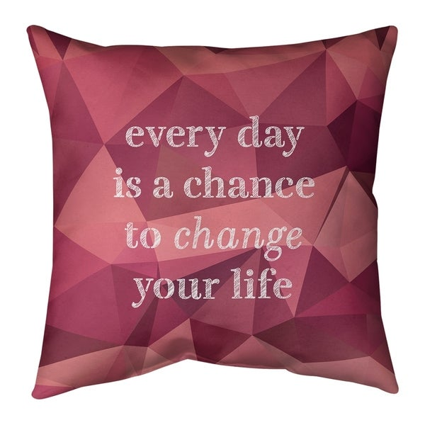 Quotes Faux Gemstone Change Your Life Quote Pillow-Spun Polyester