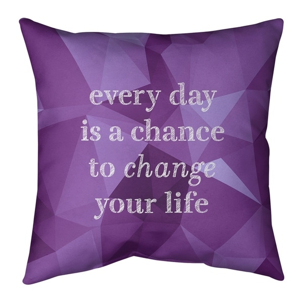 Quotes Faux Gemstone Change Your Life Quote Pillow (Indoor/Outdoor)