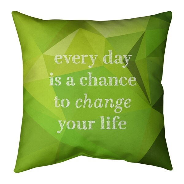 Quotes Faux Gemstone Change Your Life Quote Pillow (w/Rmv Insert)-Spun Poly