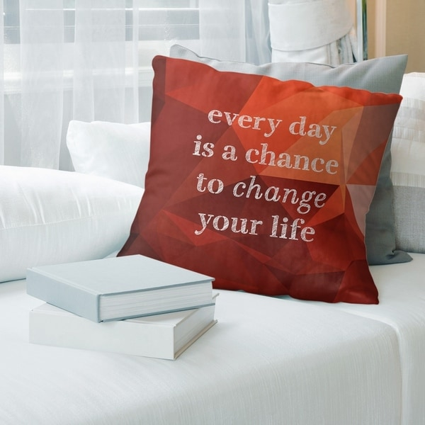 Quotes Faux Gemstone Change Your Life Quote Pillow-Faux Linen