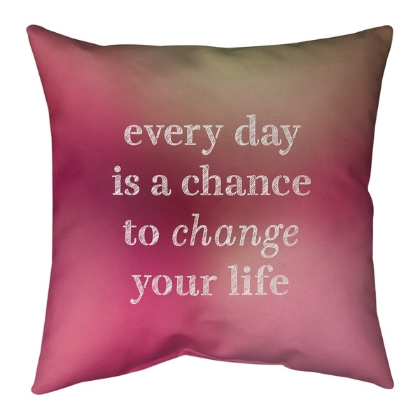 Quotes Multicolor Background Change Your Life Quote Pillow (Indoor/Outdoor)