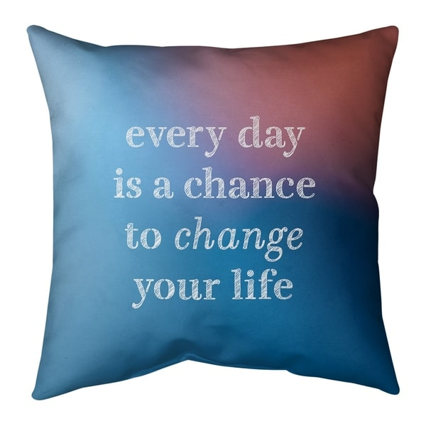 Quotes Multicolor Background Change Your Life Quote Pillow-Cotton Twill