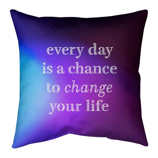 Quotes Multicolor Background Change Your Life Quote Pillow (w/Rmv Insert)-Spun Poly