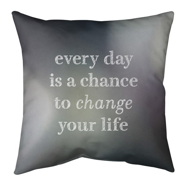 Quotes Multicolor Background Change Your Life Quote Pillow-Spun Polyester