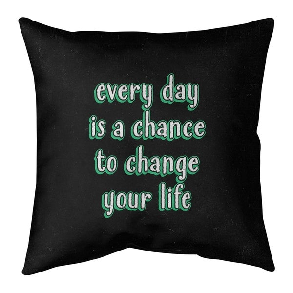 Quotes Change Your Life Quote Chalkboard Style Pillow-Faux Linen