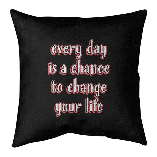 Quotes Change Your Life Quote Chalkboard Style Pillow-Faux Suede