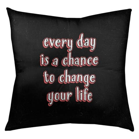 Quotes Change Your Life Quote Chalkboard Style Floor Pillow - Square Tufted