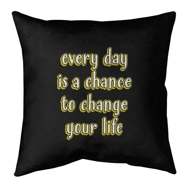 Quotes Change Your Life Quote Chalkboard Style Pillow-Cotton Twill