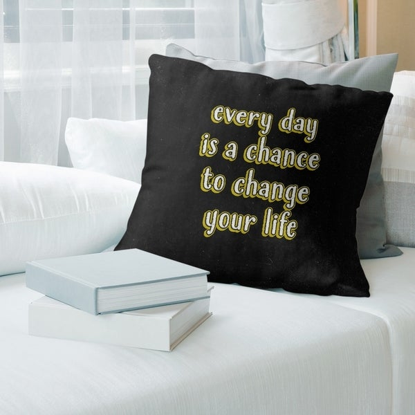 Quotes Change Your Life Quote Chalkboard Style Pillow (w/Rmv Insert)-Spun Poly